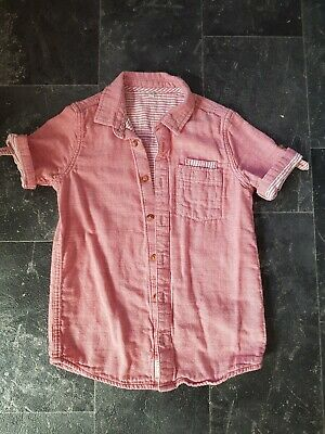 M&S Boys Red Cotton Linen Type Shirt 8-9years