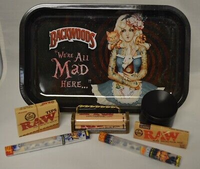 NEW Alice Rolling Tray Bundle RAW Roller Paper Tips Concave Grinder 2 Wraps Tube