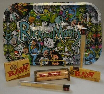 NEW Rolling Tray Bundle Kit w/ Raw Roller Paper Tips and 2 Doob Tube Rick/Morty