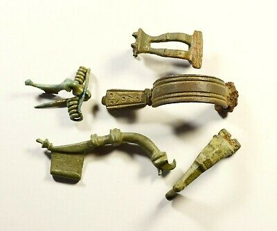 Great Lot Of 5 Mixed Ancient Fibulas - Genuine Condition / Rare Artifacts