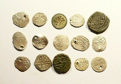 Lot Of 17 Ancient Silver & Copper Ottoman Islamic Turkey Coins 10