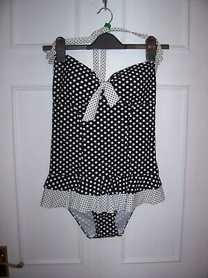 a22860657c NEW LOOK KELLY Brook Black And Cream Polka Dot Swimming Costume Size ...