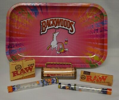 NEW Unicorn Rainbow Rolling Tray Bundle w/ Raw Roller Paper Tips and 2 Doob Tube