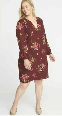 7a72f92e2c1a Old Navy Burgundy Georgette Swing Dress Womens 4X Plus Floral Lined V Neck  New