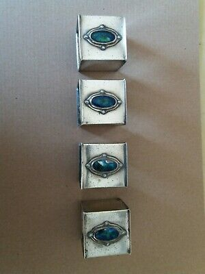 4 silver/brass square napkin rings Arts and crafts style enamel cabochon vintage