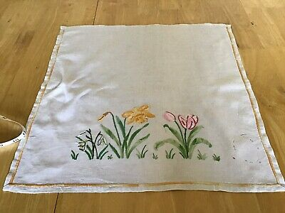 Vintage hand embroidered stunning spring flowers chairback