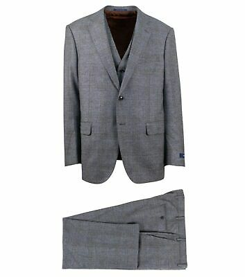NWT PAL ZILERI Gray Plaid Wool Two Button 3 Piece Suit Size 58/48 R Drop 8