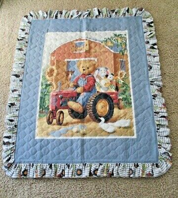 "Nursery Baby Crib Quilt Blanket Teddy Bear Riding Tractor Farm Animals 40"" x 50"""