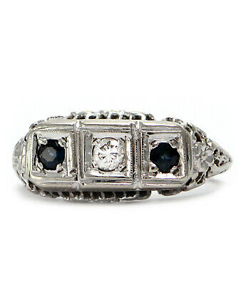 Solid 14K White Gold Antique Genuine Sapphire & Diamond Ring 3.4g