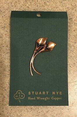 Stuart Nye Calla Lilly Hand Wrought Copper Brooch Pin hand made Asheville NC