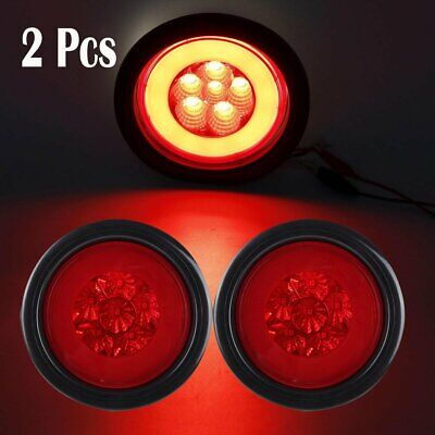 """Red Round 19LED Stop Truck Trailer Lamp Glo-Light w/Rubber Grommet&3 Wire 4"""" 2PC"""
