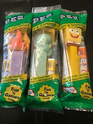 PEZ Lot of Three, Spongebob Squarepants, Squidward, PATRICK.Brand New Sealed