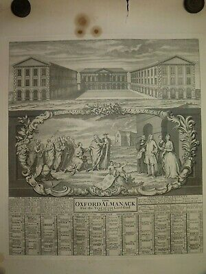 Antique Engraving 1741 Worcester College Oxford Almanac Year Of Our Lord God
