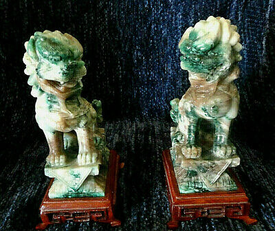 Pair of Chinese Green Jade Foo Dogs ~ On Wood Stands  ~Beautiful Perfect Cond.