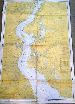 VINTAGE NAUTICAL CHART MAP NJ DEL DELAWARE RIVER Smyrna River to Wilmington