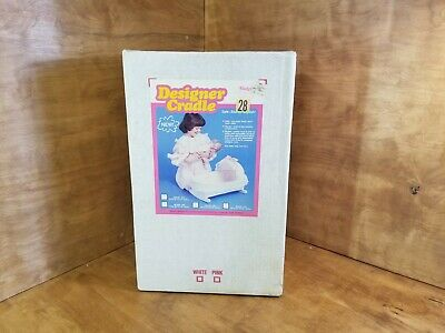 NIB Badger Basket Company Toy Wicker Doll Buggy Model 365 White WICKER LOOK WOND