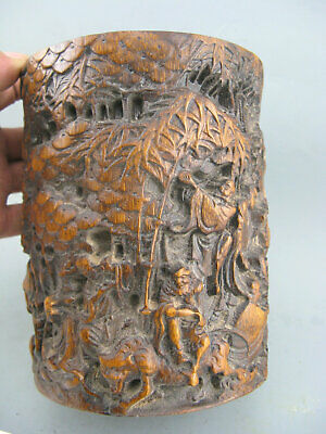 Antique Chinese Old Bamboo Hand Carved Eighteen arhats Brush Pot Statue