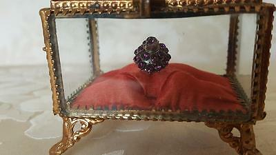 Antique French Casket Trinket Box Ormolu beveled Glass Satin Tufted cleanCushion