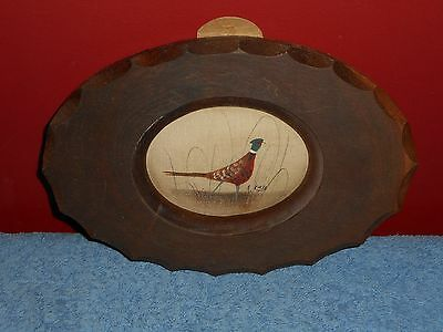 Hand Painted Pheasant In American Walnut Frame Original Signed Arts And Crafts
