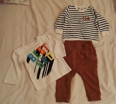 BOYS BABY H&M NEXT TOP TROUSERS 2 PIECE SET 9-12months BEST BROTHER BRO