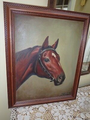Man O War Thoroughbred Race Horse~ Oil Painting On Canvas Signed W. Ritchey