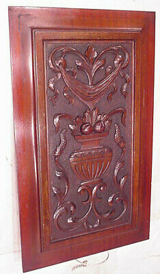 RARE ANTIQUE EUROPE HAND CHIP CARVED MAHOGANY WOOD WALL PANEL ART FLOWERS c1880