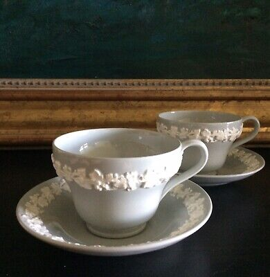 Wedgwood QUEENSWARE Cream On Grey •SET OF 2 CUPS & SAUCERS• Smooth Edge EXC