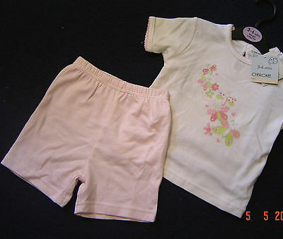 Bnwt Baby Girls 3/6 Months Pink & White Butterfly T-Shirt & Shorts Set Cherokee