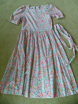 Vintage Laura Ashley Dress Pink Green Floral Tea Dress Size 14 12