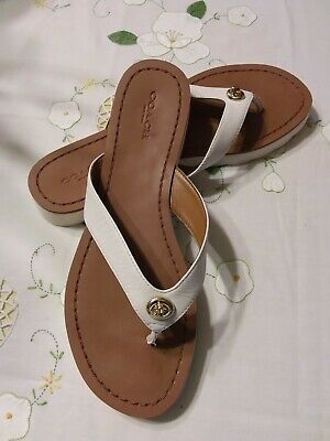 9d29ce557490 Coach Shelly Turnlock White Brown Leather Flip Flops Sandals US 8B