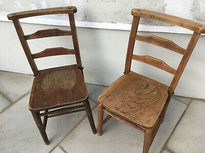 2 Church Chairs Solid Wood