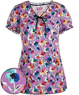 {SMALL} Koi Medical Uniform Scrub Top Covered in Flowers Embroidered Delaney