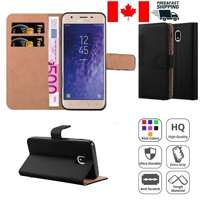 PU Leather Magnetic Credit Card Slot Wallet Flip Case Cover for Samsung J3 2018