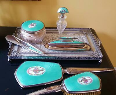 c1925 F&B Sterling Silver & Turquoise Guilloche 8 pc Vanity Set Perfume Bottle