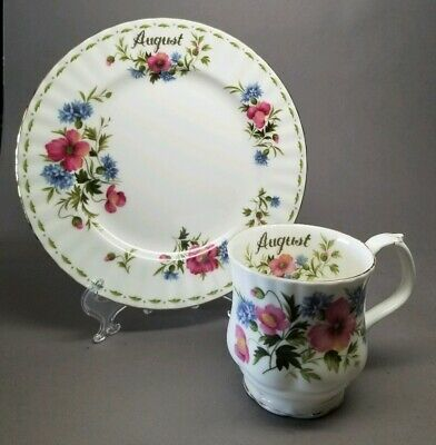 Royal Albert Flower of the Month Series AUGUST Coffee Mug Cup & Plate Set POPPY
