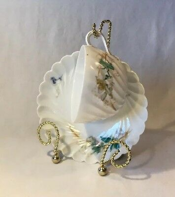 Vtg Bone China Teacup & Saucer Set W/Stand Scalloped Edged, Ribbed -   WH&W CO *