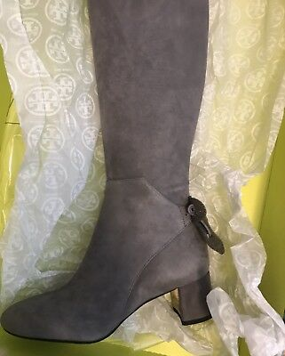 678a9d7767e New Authentic Tory Burch Gray Carbon Laila 45mm Suede Over The Knee Boots 7