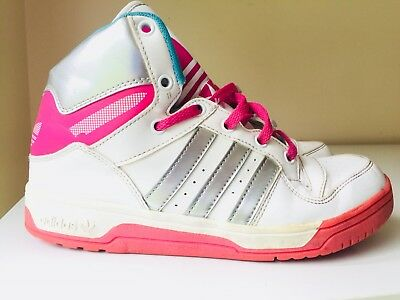 ADIDAS Girls White Pink Silver High Tops Trainers Size 2 34 Junior Leather