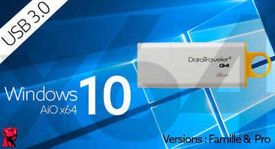 Cle d'installation et réparation Windows 10 AiO 64 bits USB 3.0 bootable
