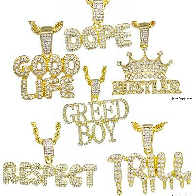 """Hip Hop Iced out Lab Diamond CROWNED KING Pendant & 4mm 24"""" Rope Chain Necklace"""