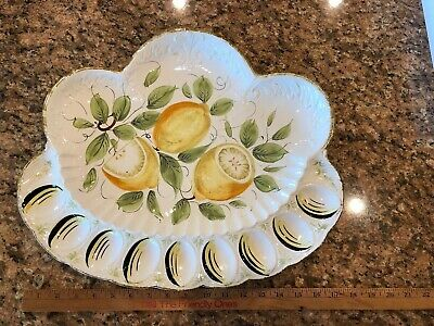 Vintage/Antique Hand Painted Deviled Egg Tray Plate  Made in Italy. Huge!!!!