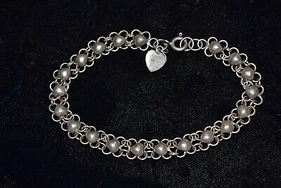 Old Vintage Antique Fine 925 Sterling Silver Art Deco Chain Link Bracelet