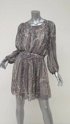 cf5cc0862b Isabel Marant Etoile Dress Sharla Printed Chiffon Size 40 Blouson Belted  Mini