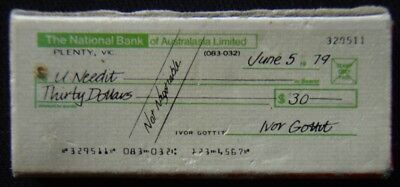 The National Bank Of Australasia Limited June 5 1979 Cheque 329511 Red Matchbox