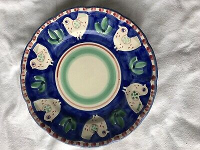 Vietri Pottery-10in Plate Chicken campagna Style Made/Painted by hand-Italy