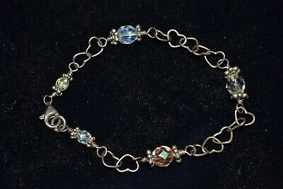 Old Vintage Antique Fine 925 Sterling Silver Hearts Art Deco Chain Link Bracelet