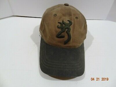 new product 60ff8 25f31 Browning Brown Green Tin Cloth Oilskin Baseball Cap Hunting Trucker Hat ONE  SIZE