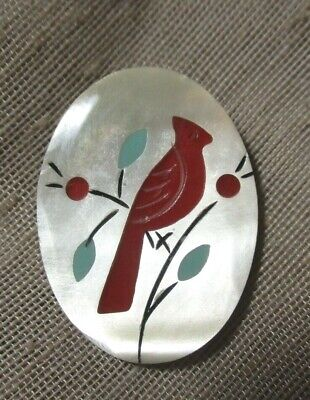 Vintage Oval Mother Of Pearl Button With Inlaid Red Cardinal Bird   1-3/8