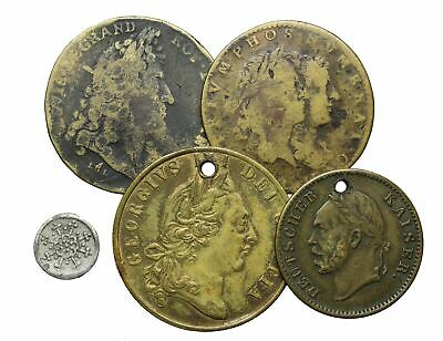 Lot of 5 Jetons, France, Germany, and Great Britain, mostly 1600-1800's
