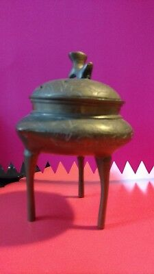 Vintage 2 Piece Chinese Brass Incense Burner stamped Made in China